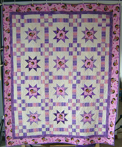 Quilt made with Dora the Explorer fabric